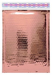 """Size #000 (4.25""""x7"""" Interior) Glamour Metallic Rose Gold Bubble Mailers with Peel-N-Seal"""