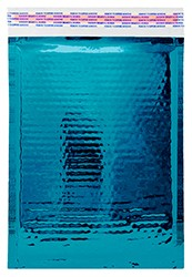 """Size #CD (7.25""""x7"""" Interior) Glamour Metallic Teal Bubble Mailers with Peel-N-Seal"""