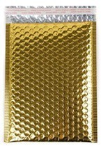 """Size #4 (9.5""""x13.5"""" Interior) Metallic Gold Bubble Mailer (Heavy Style) with Peel-N-Seal"""